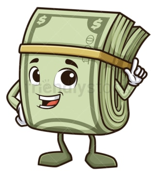 Money mascot pointing up. PNG - JPG and vector EPS (infinitely scalable).