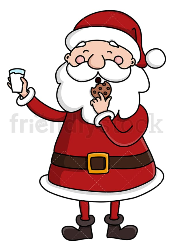 Santa claus eating cookie holding milk. PNG - JPG and vector EPS (infinitely scalable).