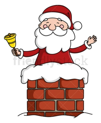Santa claus in chimney ringing bell. PNG - JPG and vector EPS (infinitely scalable).