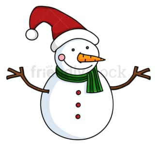Cute snowman wearing long christmas hat. PNG - JPG and vector EPS file formats (infinitely scalable). Image isolated on transparent background.