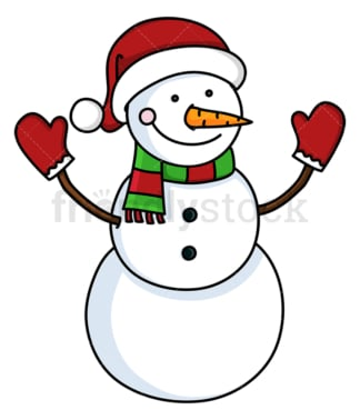 Snowman wearing santa hat and red gloves. PNG - JPG and vector EPS file formats (infinitely scalable). Image isolated on transparent background.