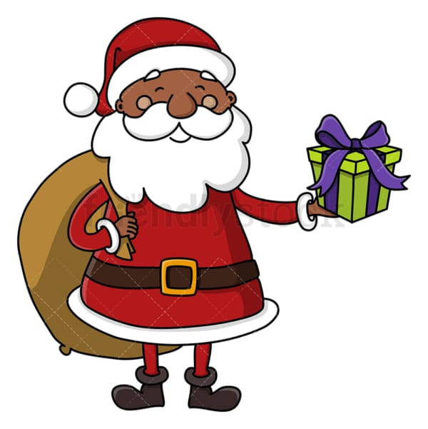 Black santa claus holding present. PNG - JPG and vector EPS (infinitely scalable).