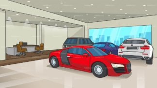 Car dealership background in 16:9 aspect ratio. PNG - JPG and vector EPS file formats (infinitely scalable).