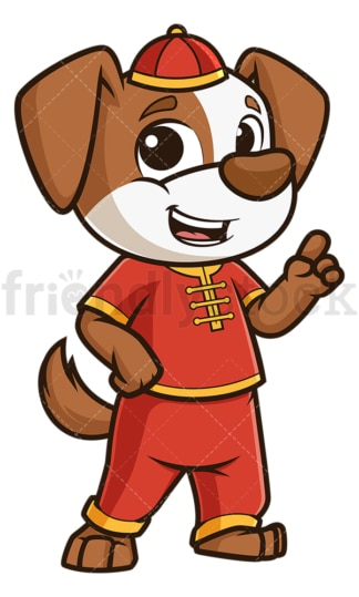 Chinese new year dog pointing up. PNG - JPG and vector EPS (infinitely scalable).