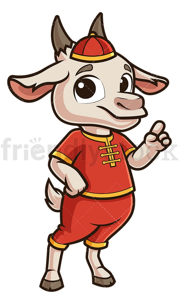 Chinese new year goat pointing up. PNG - JPG and vector EPS (infinitely scalable).