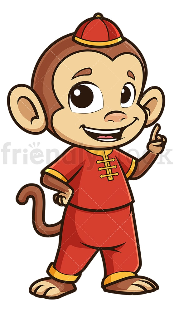 Chinese new year monkey pointing up. PNG - JPG and vector EPS (infinitely scalable).