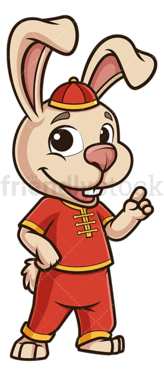 Chinese new year rabbit pointing up. PNG - JPG and vector EPS (infinitely scalable).