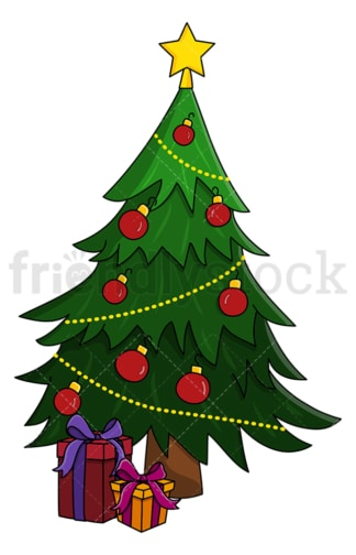 Christmas tree with presents under it. PNG - JPG and vector EPS (infinitely scalable).