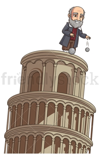 Galileo dropping balls leaning tower of pisa. PNG - JPG and vector EPS (infinitely scalable).