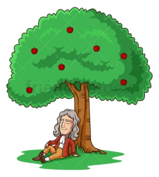 Isaac newton under apple tree. PNG - JPG and vector EPS (infinitely scalable).