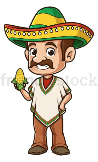 Mexican man holding corn. PNG - JPG and vector EPS file formats (infinitely scalable). Image isolated on transparent background.