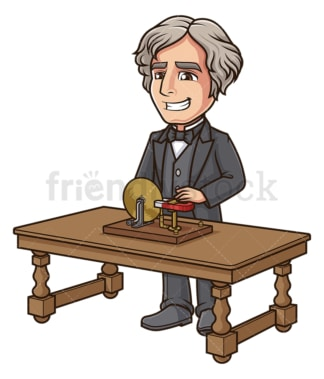 Michael faraday working on his disk. PNG - JPG and vector EPS (infinitely scalable).