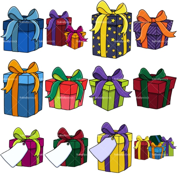 Presents and gift boxes vector clipart bundle. PNG - JPG and vector EPS file formats (infinitely scalable). Image isolated on transparent background.