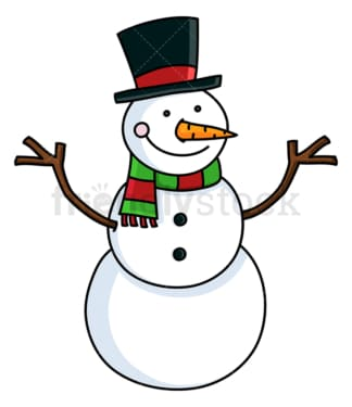 Snowman with hat and christmassy scarf. PNG - JPG and vector EPS file formats (infinitely scalable). Image isolated on transparent background.