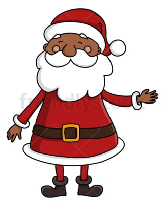 Black santa claus pointing sideways. PNG - JPG and vector EPS (infinitely scalable).