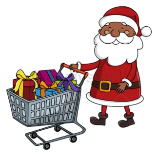 Black santa claus with shopping cart. PNG - JPG and vector EPS (infinitely scalable).