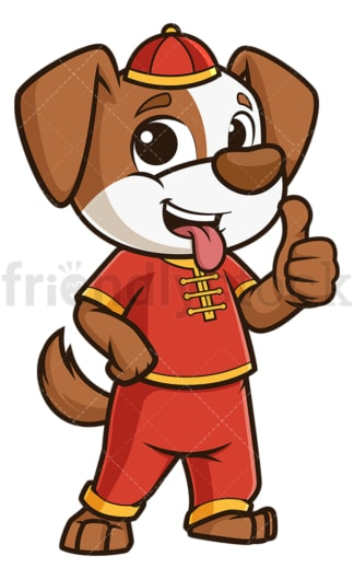 Chinese new year dog thumbs up. PNG - JPG and vector EPS (infinitely scalable).
