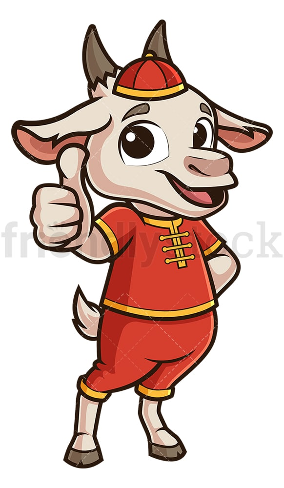 Chinese new year goat thumbs up. PNG - JPG and vector EPS (infinitely scalable).