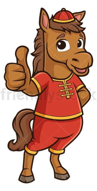 Chinese new year horse thumbs up. PNG - JPG and vector EPS (infinitely scalable).