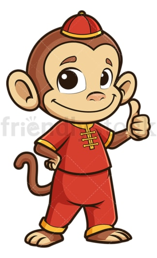 Chinese new year monkey thumbs up. PNG - JPG and vector EPS (infinitely scalable).
