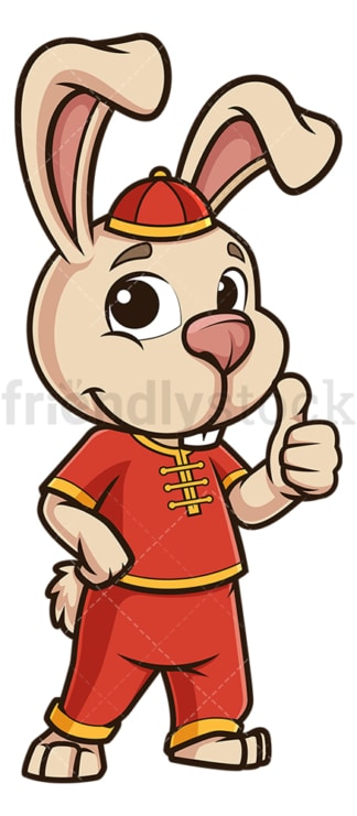 Chinese new year rabbit thumbs up. PNG - JPG and vector EPS (infinitely scalable).