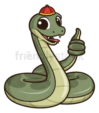 Chinese new year snake thumbs up. PNG - JPG and vector EPS (infinitely scalable).