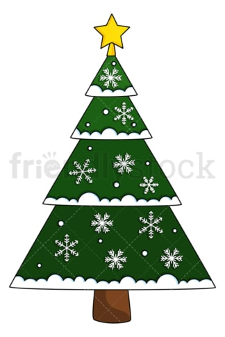 Christmas tree decorated with snowflakes. PNG - JPG and vector EPS (infinitely scalable).
