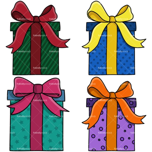 Flat presents and gift boxes clipart bundle. PNG - JPG and vector EPS file formats (infinitely scalable). Image isolated on transparent background.