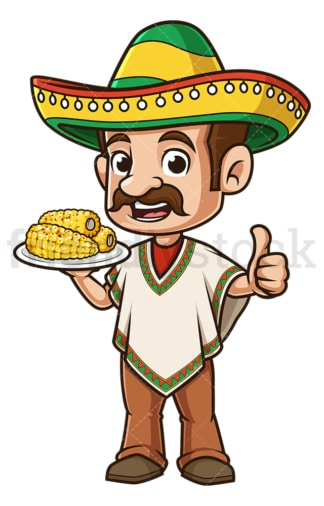 Mexican man with corn on cob. PNG - JPG and vector EPS file formats (infinitely scalable). Image isolated on transparent background.
