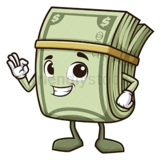 Money mascot a-ok gesture. PNG - JPG and vector EPS (infinitely scalable).