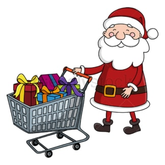 Santa claus pushing shopping cart. PNG - JPG and vector EPS (infinitely scalable).