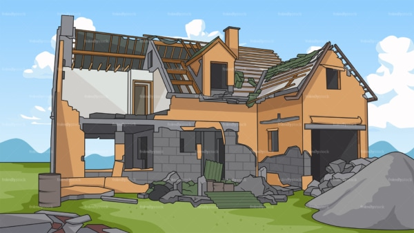 Semi demolished house background in 16:9 aspect ratio. PNG - JPG and vector EPS file formats (infinitely scalable).