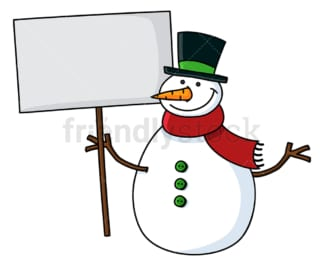 Smiling snowman holding blank sign. PNG - JPG and vector EPS file formats (infinitely scalable). Image isolated on transparent background.
