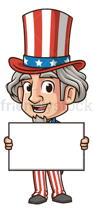 Uncle sam holding blank sign. PNG - JPG and vector EPS (infinitely scalable).