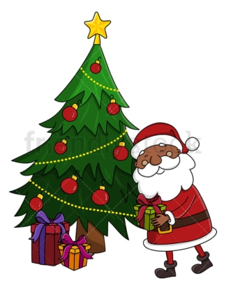 Black santa leaving present under christmas tree. PNG - JPG and vector EPS (infinitely scalable).
