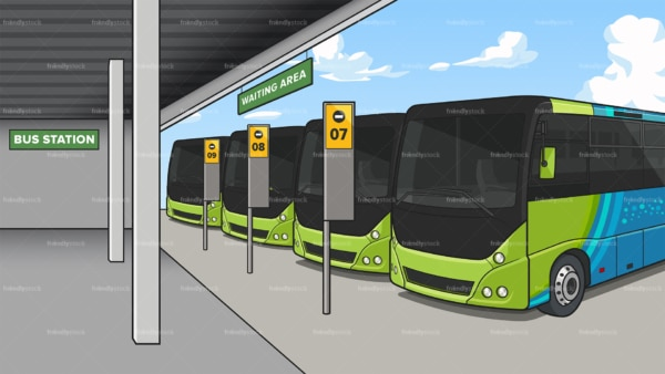 Bus station background in 16:9 aspect ratio. PNG - JPG and vector EPS file formats (infinitely scalable).