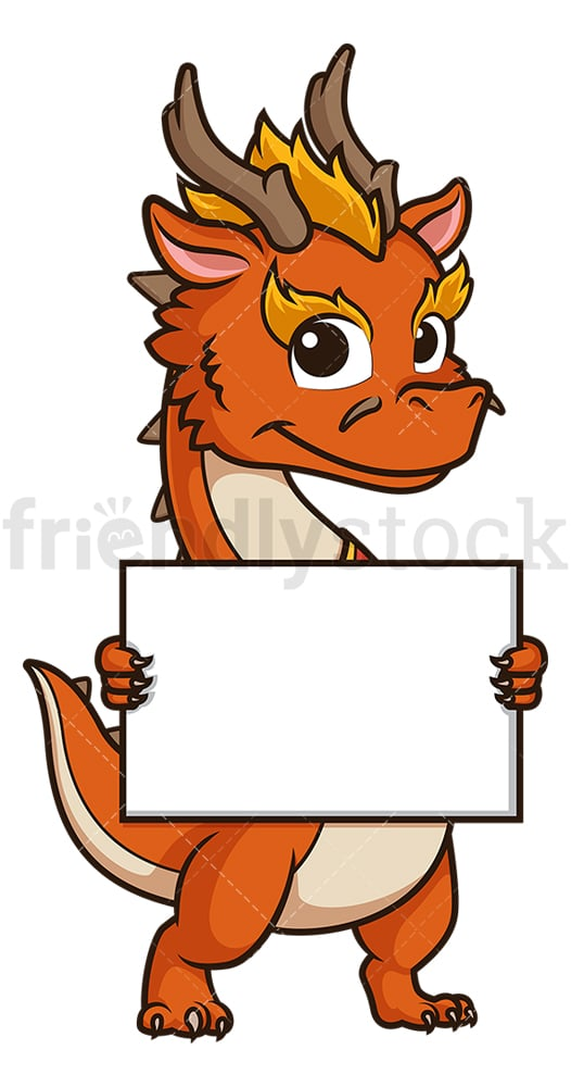 Chinese new year dragon holding blank sign. PNG - JPG and vector EPS (infinitely scalable).