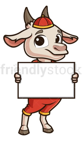 Chinese new year goat holding blank sign. PNG - JPG and vector EPS (infinitely scalable).