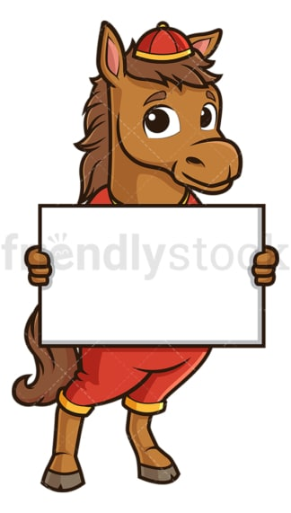 Chinese new year horse holding blank sign. PNG - JPG and vector EPS (infinitely scalable).