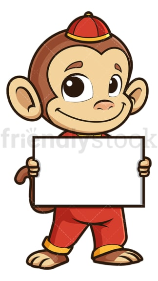 Chinese new year monkey holding blank sign. PNG - JPG and vector EPS (infinitely scalable).