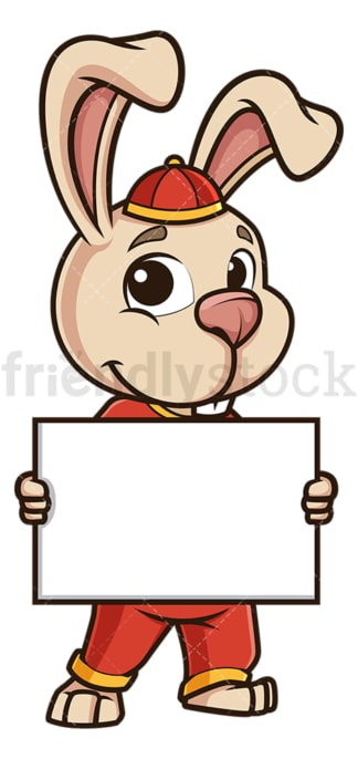 Chinese new year rabbit holding blank sign. PNG - JPG and vector EPS (infinitely scalable).