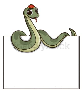 Chinese new year snake holding blank sign. PNG - JPG and vector EPS (infinitely scalable).