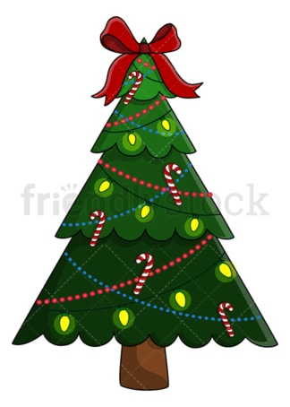 Christmas tree with big red ribbon and candy. PNG - JPG and vector EPS (infinitely scalable).