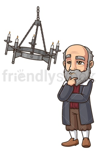 Galileo thinking about swinging chandelier. PNG - JPG and vector EPS (infinitely scalable).