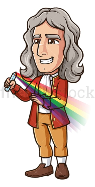Isaac newton holding prism. PNG - JPG and vector EPS (infinitely scalable).
