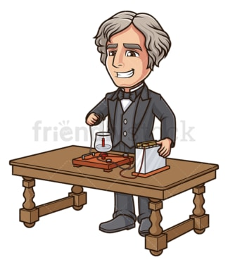 Michael faraday working on his motor. PNG - JPG and vector EPS (infinitely scalable).