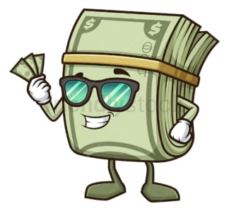 Money character holding cash. PNG - JPG and vector EPS (infinitely scalable).