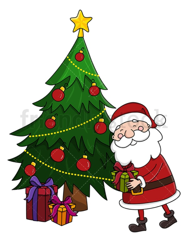 Santa claus leaving present under christmas tree. PNG - JPG and vector EPS (infinitely scalable).