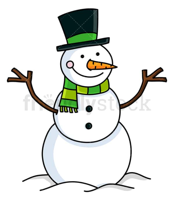 Snowman wearing hat and green scarf. PNG - JPG and vector EPS file formats (infinitely scalable). Image isolated on transparent background.