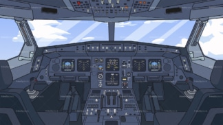 Airplane cockpit background in 16:9 aspect ratio. PNG - JPG and vector EPS file formats (infinitely scalable).